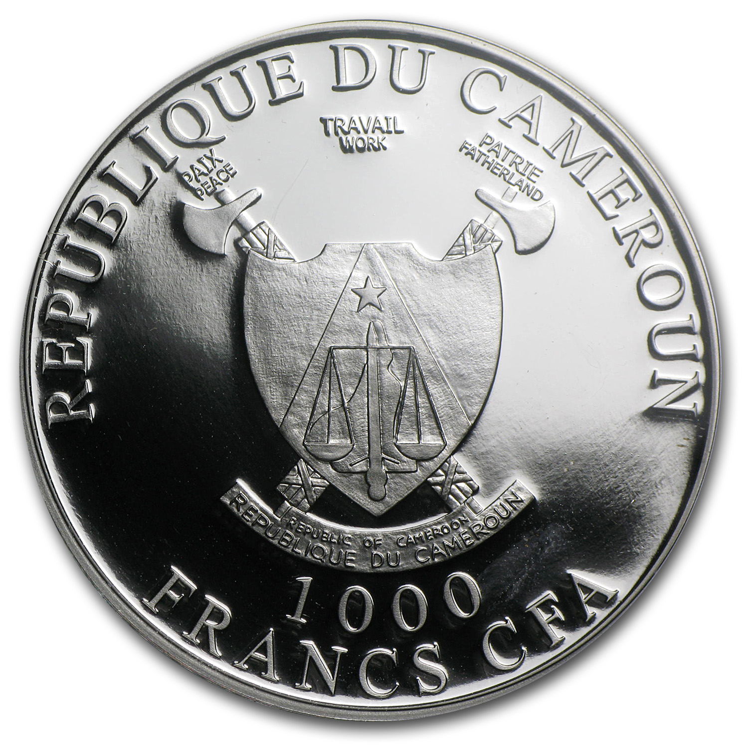 2013 Cameroon 1 oz Silver 1000FR CFA Cross River Gorilla